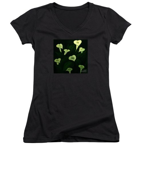Calla Lilies Women's V-Neck (Athletic Fit)