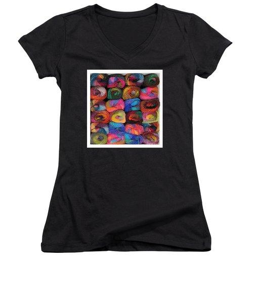 Colorful Knitting Yarn Women's V-Neck T-Shirt (Junior Cut) by Les Palenik
