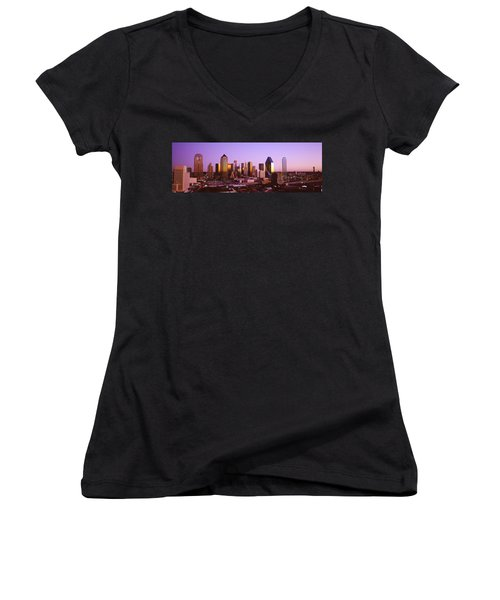 Dallas, Texas, Usa Women's V-Neck T-Shirt (Junior Cut) by Panoramic Images