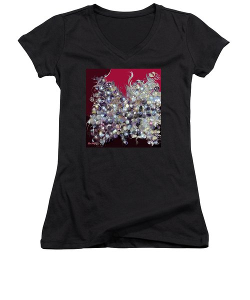 Women's V-Neck T-Shirt (Junior Cut) featuring the digital art Design By Loxi Sibley by Loxi Sibley