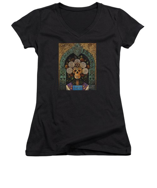 Dia De Muertos Madonna Women's V-Neck (Athletic Fit)