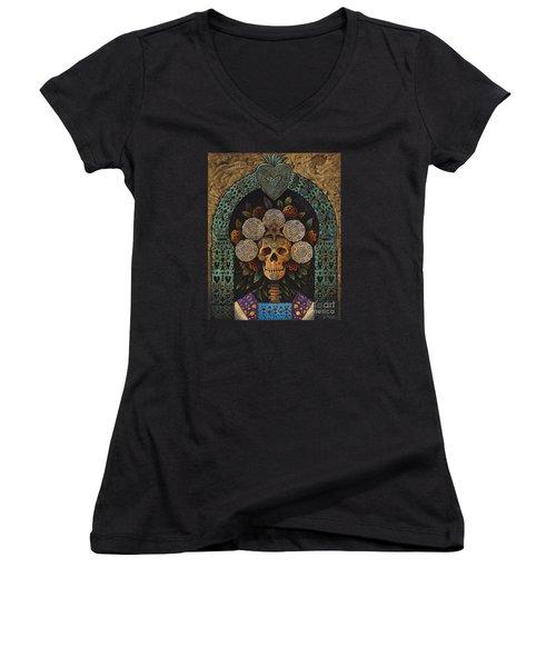 Dia De Muertos Madonna Women's V-Neck T-Shirt