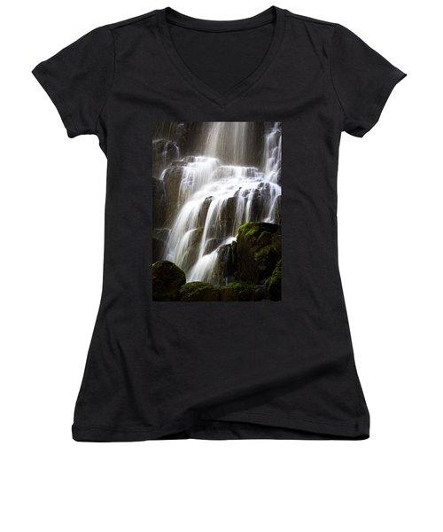 Fairy Falls Women's V-Neck T-Shirt (Junior Cut) by Patricia Babbitt