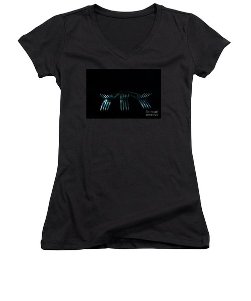 Women's V-Neck T-Shirt (Junior Cut) featuring the photograph 3 Forks by Randi Grace Nilsberg