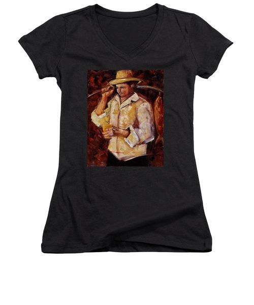Jibaro De La Costa Women's V-Neck T-Shirt (Junior Cut)