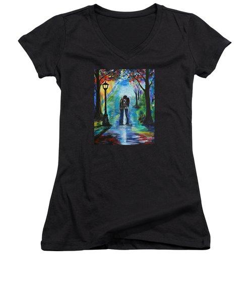 Moonlight Kiss Women's V-Neck T-Shirt (Junior Cut) by Leslie Allen