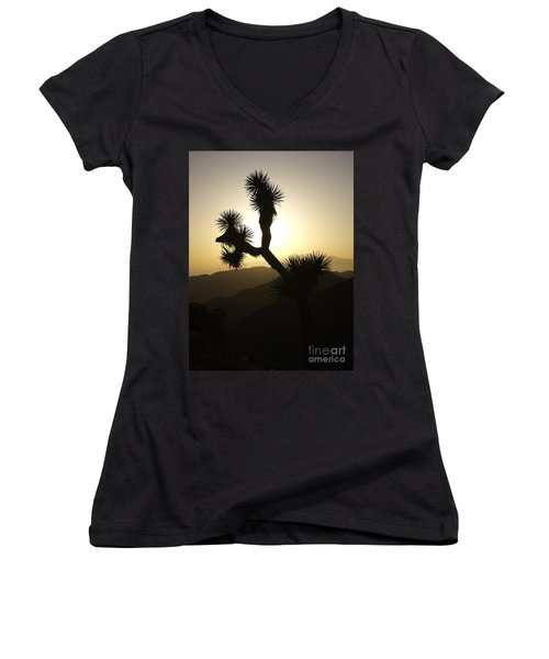 New Photographic Art Print For Sale Joshua Tree At Sunset Women's V-Neck
