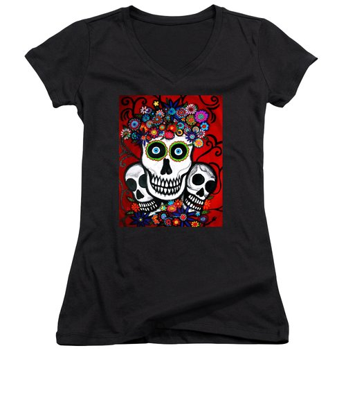 Women's V-Neck T-Shirt (Junior Cut) featuring the painting 3 Skulls by Pristine Cartera Turkus