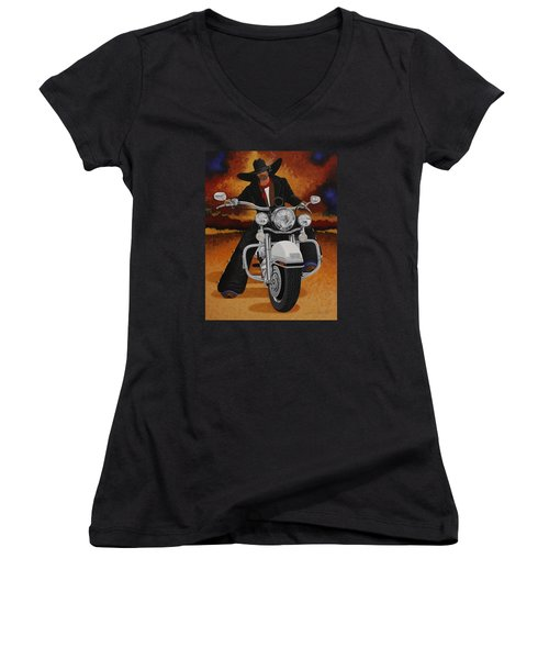 Steel Pony Women's V-Neck T-Shirt (Junior Cut) by Lance Headlee