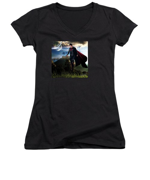 Women's V-Neck T-Shirt (Junior Cut) featuring the mixed media Superman by Marvin Blaine