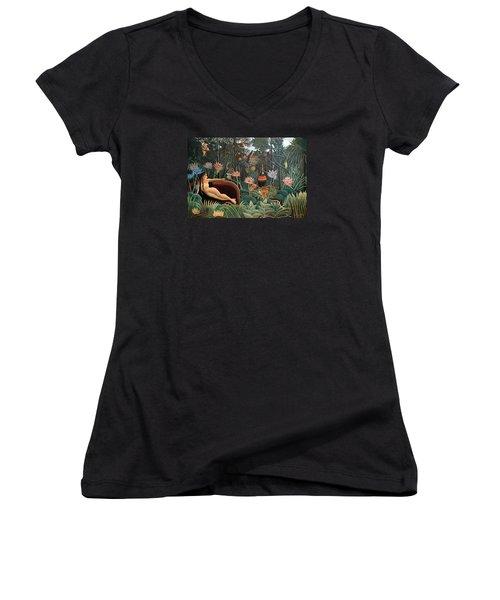 The Dream Women's V-Neck T-Shirt (Junior Cut) by Henri Rousseau
