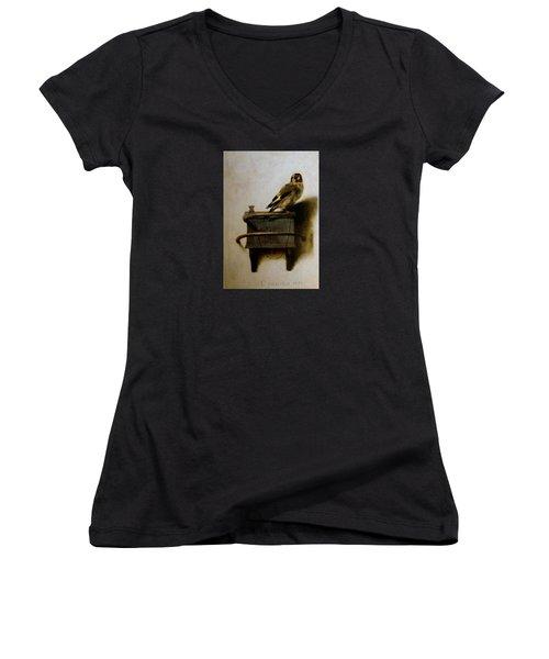 The Goldfinch Women's V-Neck T-Shirt (Junior Cut) by Carel Fabritius