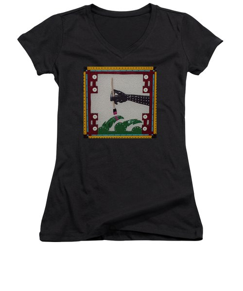 Women's V-Neck T-Shirt (Junior Cut) featuring the sculpture The Helping Hand by Robert Margetts