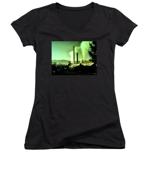 Women's V-Neck T-Shirt (Junior Cut) featuring the painting Twin Peaks by Luis Ludzska