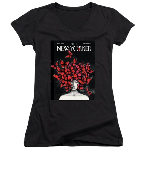 New Yorker March 29th, 2010 Women's V-Neck T-Shirt