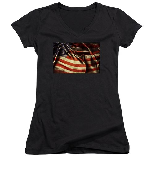 American Flag 51 Women's V-Neck (Athletic Fit)