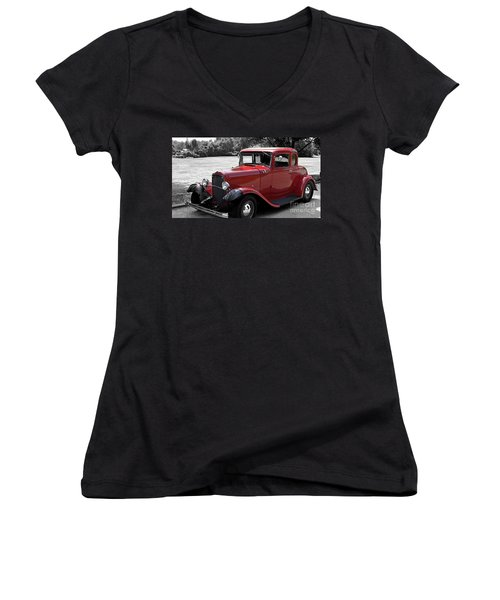32 Ford Coupe Charmer Women's V-Neck (Athletic Fit)