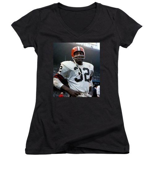 #32 Jim Brown Women's V-Neck (Athletic Fit)
