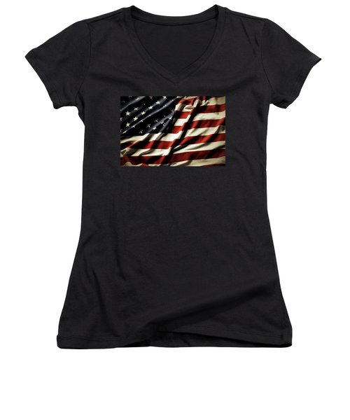 American Flag Women's V-Neck (Athletic Fit)