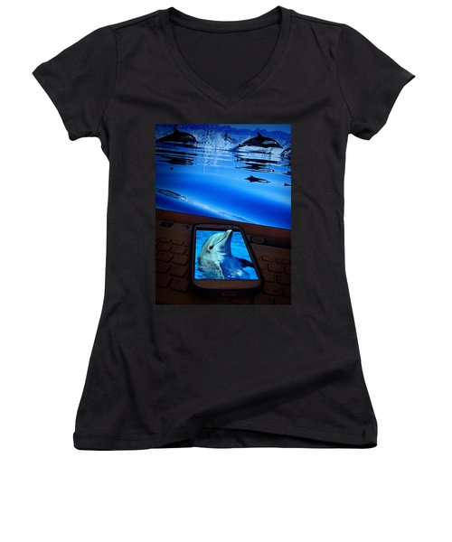 3d Phone... Women's V-Neck T-Shirt (Junior Cut) by Alessandro Della Pietra