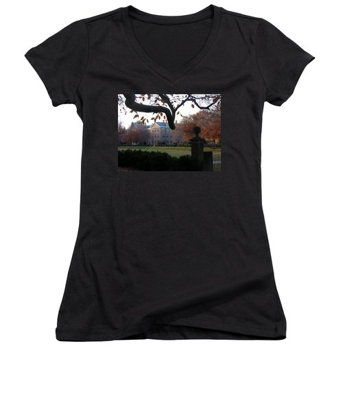 Women's V-Neck T-Shirt (Junior Cut) featuring the photograph College Of William And Mary by Jacqueline M Lewis