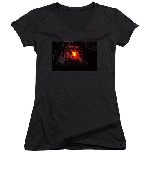 Fire In The Sky Women's V-Neck T-Shirt (Junior Cut) by Jay Milo
