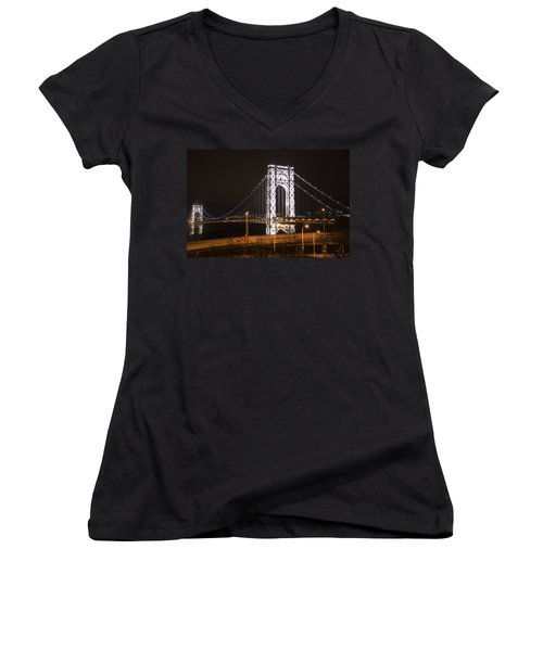 George Washington Bridge On President's Day Women's V-Neck