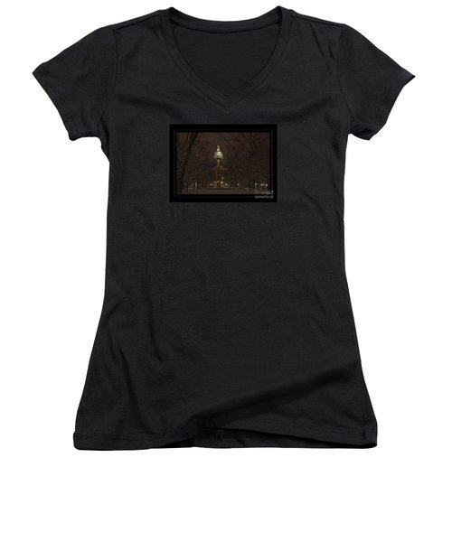 Notre Dame Golden Dome Snow Poster Women's V-Neck T-Shirt (Junior Cut) by John Stephens