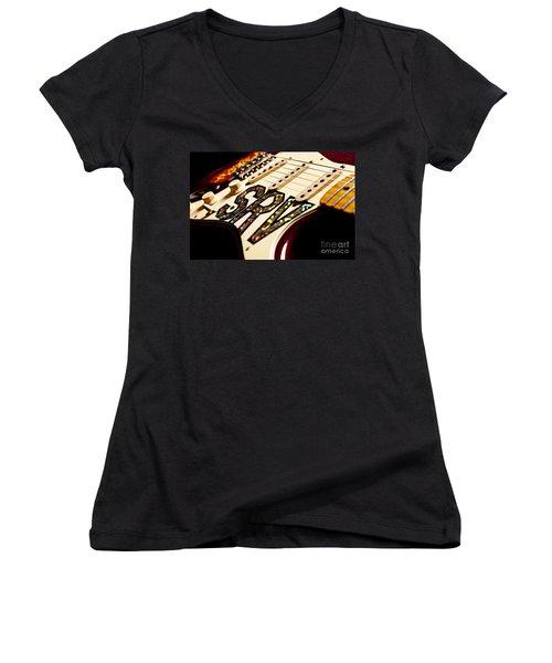 Replica Stevie Ray Vaughn Electric Guitar Artistic Women's V-Neck T-Shirt (Junior Cut) by Jani Bryson