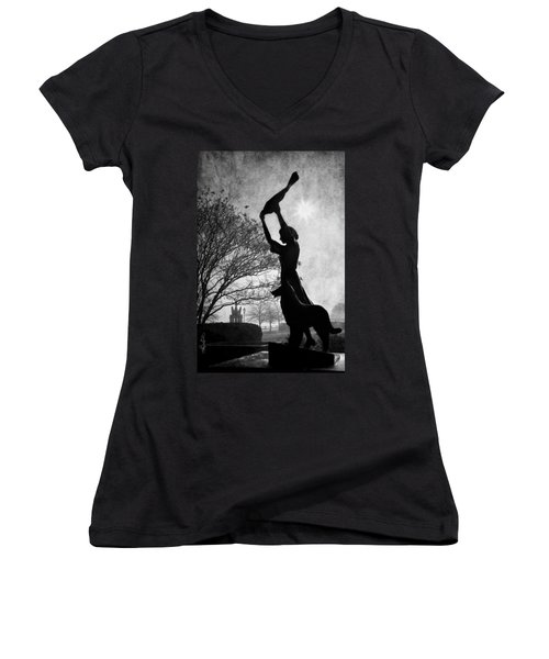 44 Years Of Waving - Black And White Women's V-Neck (Athletic Fit)