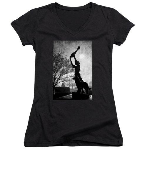 44 Years Of Waving - Black And White Women's V-Neck T-Shirt