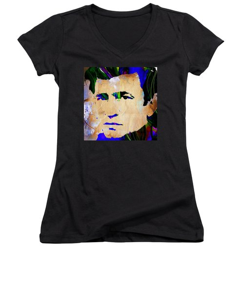 Johnny Cash Collection Women's V-Neck T-Shirt (Junior Cut) by Marvin Blaine