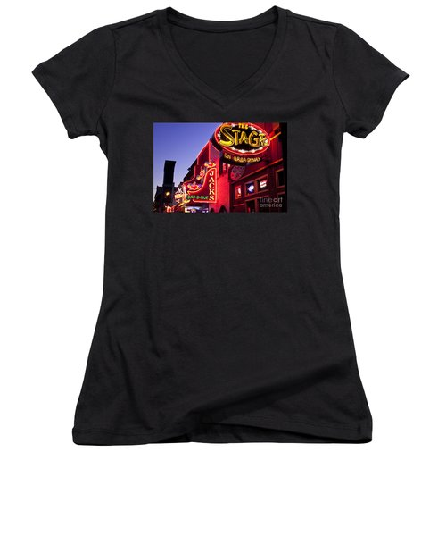 Music City Usa Women's V-Neck T-Shirt (Junior Cut) by Brian Jannsen