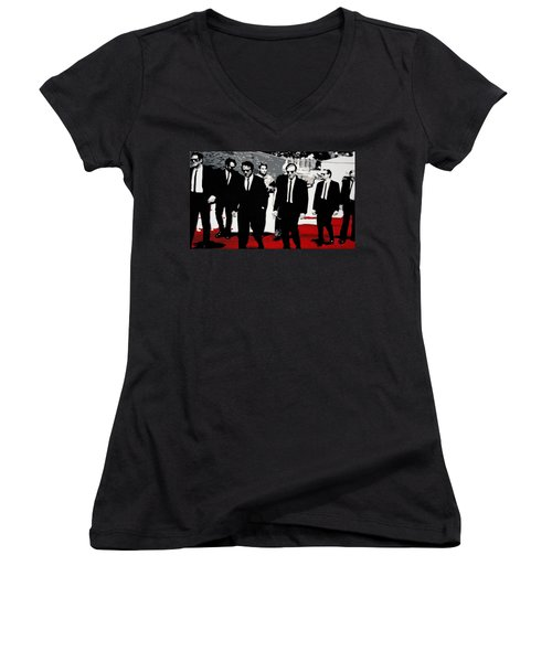 Reservoir Dogs Women's V-Neck T-Shirt (Junior Cut) by Luis Ludzska