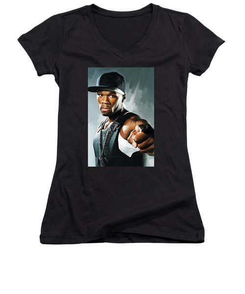 50 Cent Artwork 2 Women's V-Neck T-Shirt