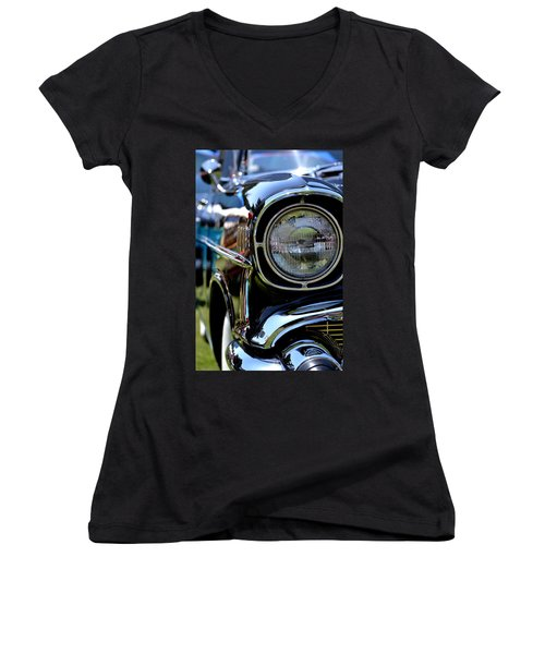 Women's V-Neck T-Shirt (Junior Cut) featuring the photograph 50's Chevy by Dean Ferreira