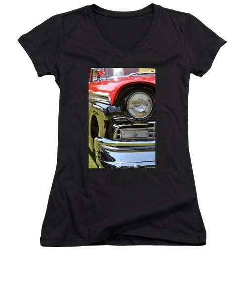 Women's V-Neck T-Shirt (Junior Cut) featuring the photograph 50's Ford by Dean Ferreira