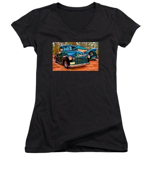 Women's V-Neck T-Shirt (Junior Cut) featuring the painting '51 Chevy Pickup With Teardrop Trailer by Michael Pickett