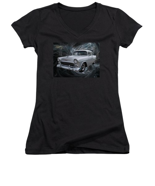 55 Chevy Women's V-Neck (Athletic Fit)
