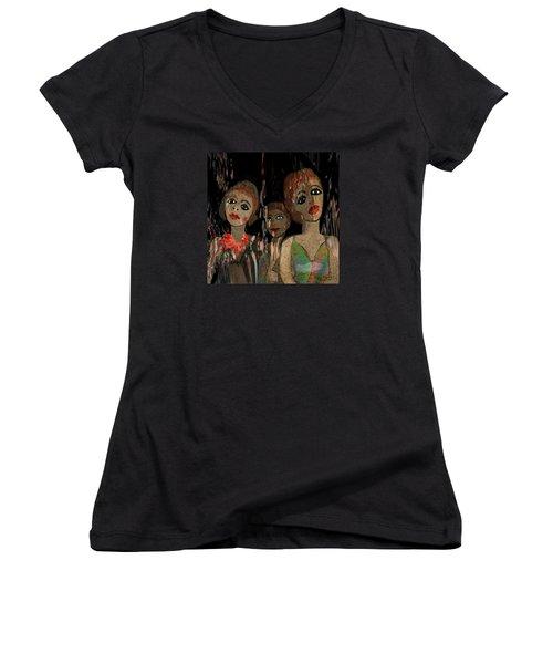 562 - Three Young Girls   Women's V-Neck T-Shirt (Junior Cut) by Irmgard Schoendorf Welch