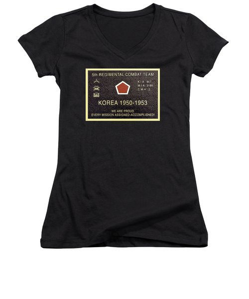 5th Regimental Combat Team Arlington Cemetary Memorial Women's V-Neck (Athletic Fit)