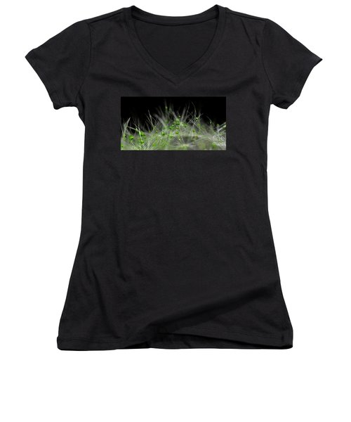 Women's V-Neck T-Shirt (Junior Cut) featuring the photograph Crystal Flower by Sylvie Leandre