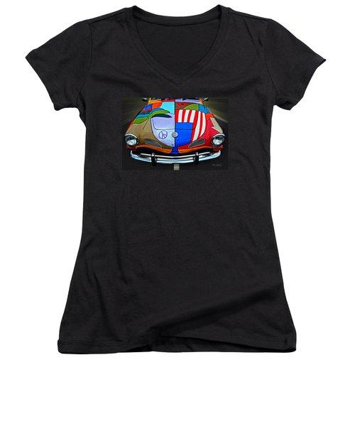 60s Wild Ride Women's V-Neck T-Shirt (Junior Cut) by Mary Machare