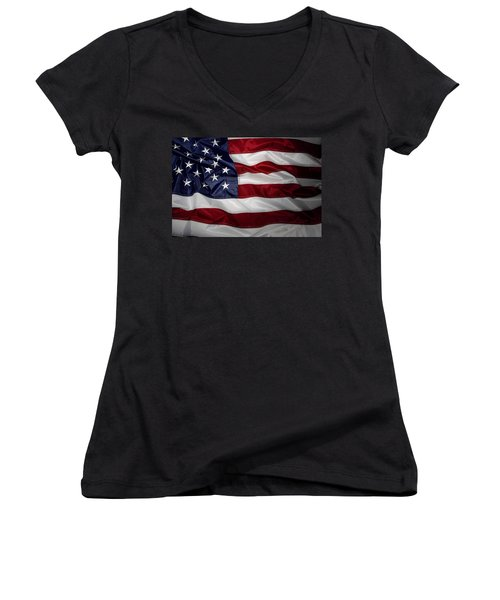 American Flag 52 Women's V-Neck (Athletic Fit)