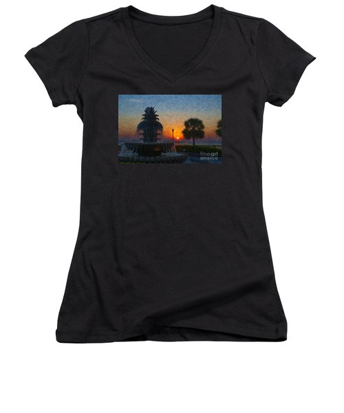 Pineapple Fountain At Dawn Women's V-Neck