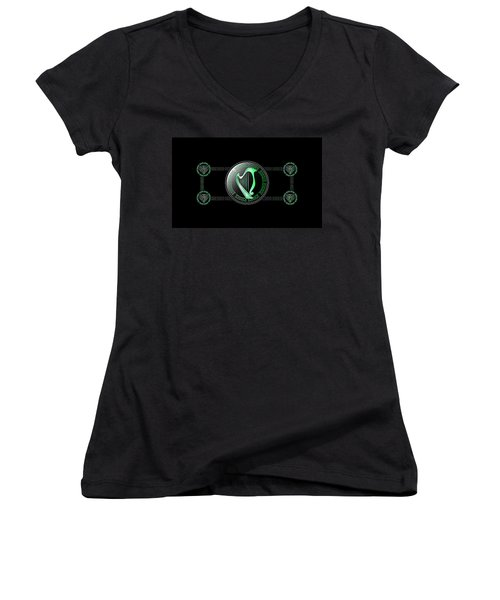 Celtic Harp Women's V-Neck (Athletic Fit)