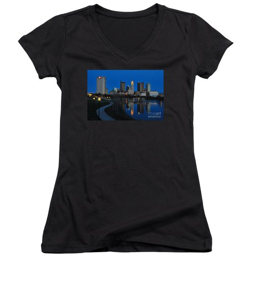 Columbus Ohio Skyline At Night Women's V-Neck
