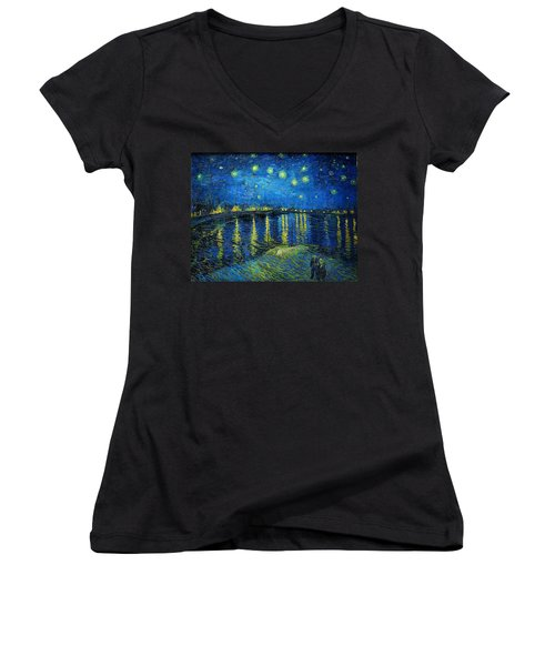 Starry Night Over The Rhone Women's V-Neck T-Shirt (Junior Cut) by Vincent van Gogh