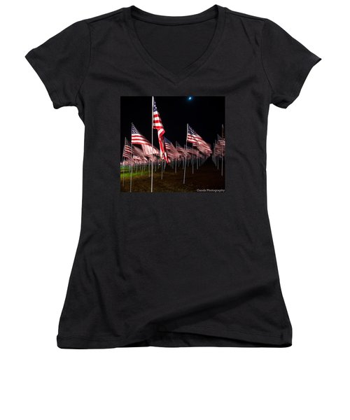 9-11 Flags Women's V-Neck (Athletic Fit)