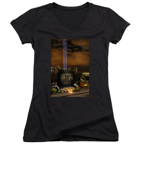 9-11 Monument Women's V-Neck T-Shirt (Junior Cut) by Dave Mills